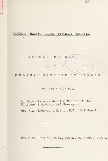 [Report 1954] by Downham Market (England). Urban District Council
